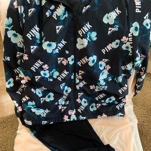 VS Pink Full Zip Anorak and Crop Pant set